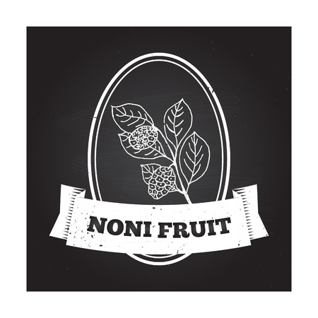 noni fruit: Health and Nature Collection. Badge template with a herb on chalkboard background. Noni fruit