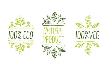 Hand-sketched typographic elements. Natural product labels. Suitable for ads, signboards, packaging and identity and web designs Vector
