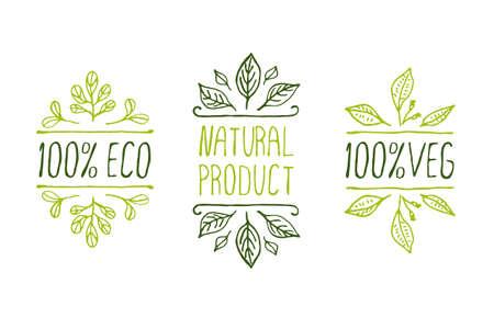 naturaleza: Mano-bosquejado elementos tipográficos. Etiquetas de los productos Natural. Adecuado para anuncios, letreros, embalaje y la identidad y diseño web
