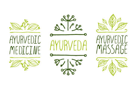 Hand-sketched typographic elements. Ayurveda product labels. Suitable for ads, signboards, packaging and identity and web designs. Ayurvedic medicine, Aurveda, Ayurvedic massage Vector
