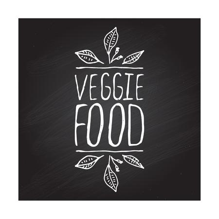 fond restaurant: Veggie alimentaire main-esquiss� �l�ment typographique sur fond tableau. �tiquette des restaurants. Convient pour les annonces, enseignes, menus et des conceptions web de banni�res