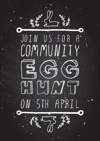 Hand-sketched easter typographic element on chalkboard background. Easter Egg Hunt. Suitable for print and web Vector