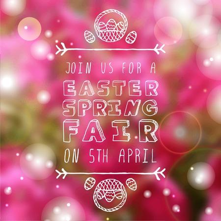 sparkled: Hand-sketched easter typographic element on blurred sparkled background. Easter Egg Hunt. Suitable for print and web