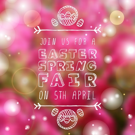 sparkled: Hand-sketched easter typographic element onblurred sparkled background. Easter Spring Fair. Suitable for print and web Illustration