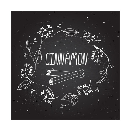 Herbs and Spices Collection - Cinnamon. Handdrawn Wreath on chalkboard background. Suitable for ads, signboards, packaging and identity designs Vector
