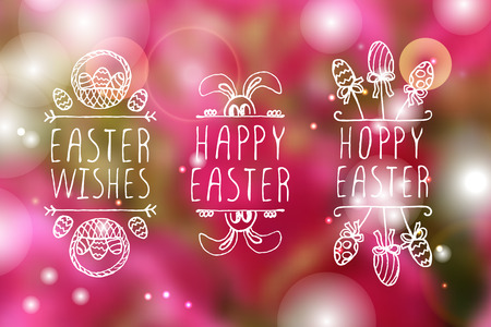 sparkled: Set of hand-sketched easter typographic elements on blurred background. Suitable for print and web