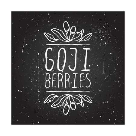 Herbs and Spices Collection - Goji Berries. Hand-sketched typographic element on chalkboard background. Suitable for ads, signboards, packaging and identity designs Vector