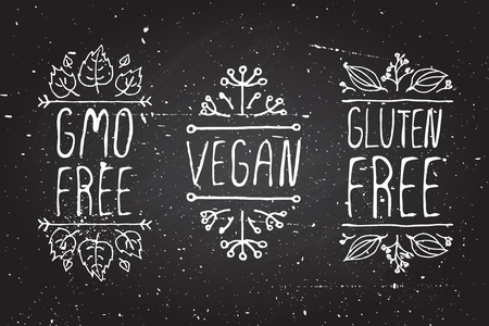 Hand-sketched typographic elements on chalkboard background. GMO free. Vegan. Gluten free. Suitable for ads, signboards, menu and web banner designs Vector