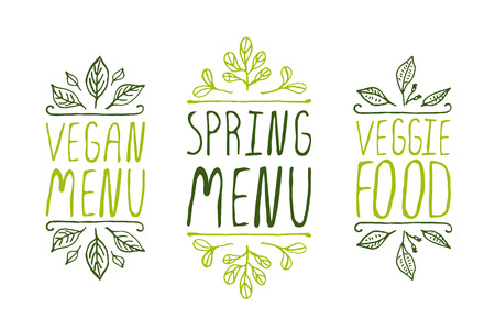 hand drawing: Hand-sketched typographic elements on white background. Vegan menu. Spring menu. Veggie food. Restaurant labels. Suitable for ads, signboards, menu and web banner designs