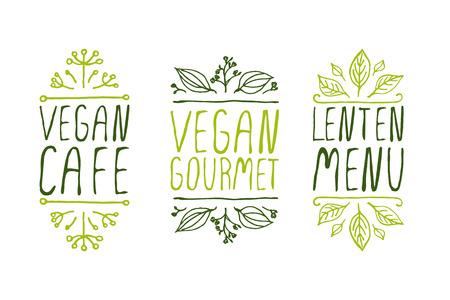 Hand-sketched typographic elements on white background. Vegan cafe. Vegan gourmet. Lenten menu. Restaurant labels. Suitable for ads, signboards, menu and web banner designs Illustration