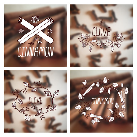 clove: Herbs and Spices Collection - Cinnamon and Clove.  Hand-sketched typographic elements on blurred background. Suitable for ads, signboards, packaging, decor and identity designs