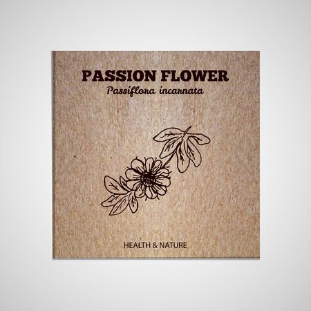 passion ecology: Herbs and Spices Collection - Passion Flower  Hand-sketched herbal element on cardboard background. Suitable for ads, signboards, packaging and identity designs