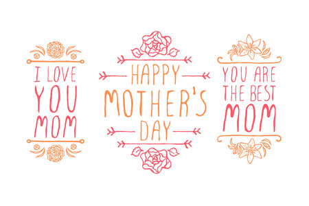 handlettering: Happy mothers day handlettering elements with flowers on white background