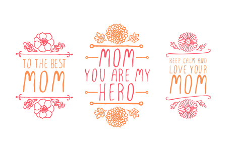 Happy mothers day handlettering elements with flowers on white background Vector