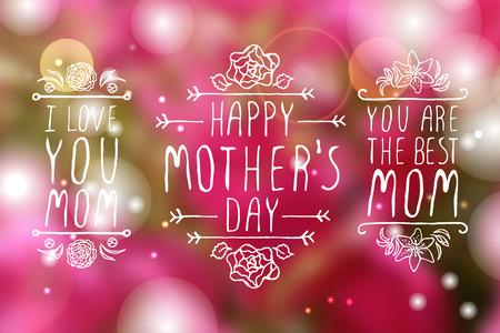 madre: Día de madres feliz handlettering elementos con flores sobre fondo blanco