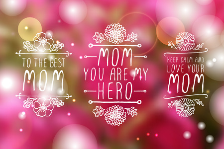 mother: Happy mothers day handlettering elements with flowers on white background