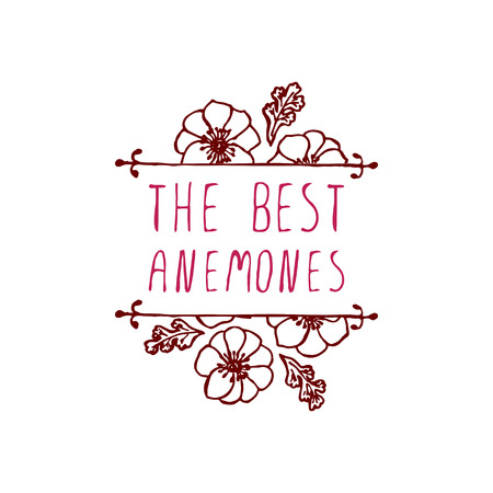 The best anemones. Handsketched typographic element with anemones. Floral label.  Suitable for ads, signboards, identity and wedding designs Vector