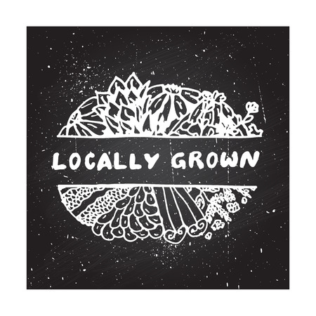 locally: Zentangle element on chalkboard background. Locally grown