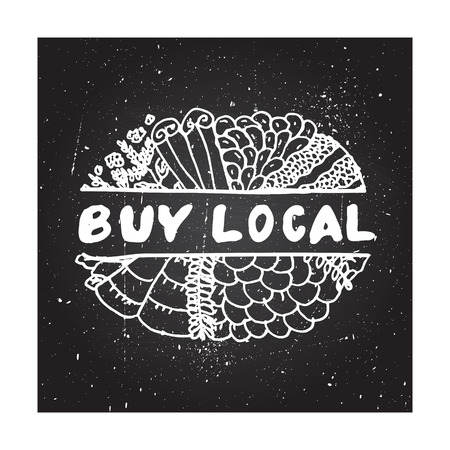 buy local: Buy local - zentangle element on chalkboard background Illustration