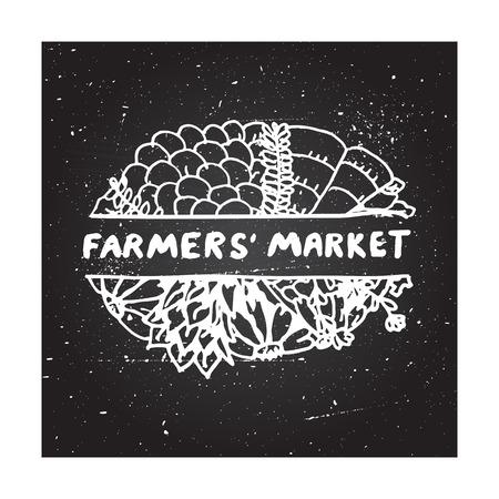 farmers market: Farmers market - zentangle element on chalkboard background