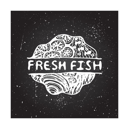 brand identity: Concept for seafood markets and restaurants. Detailed handdrawn zentangle element on chalkboard background.  Suitable for ads, signboards, gift cards, price lists, menus, and brand identity design Illustration