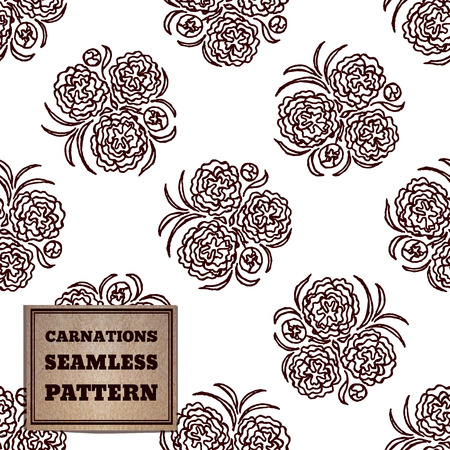 carnations: Seamless pattern with bouquet of carnations and cardboard label