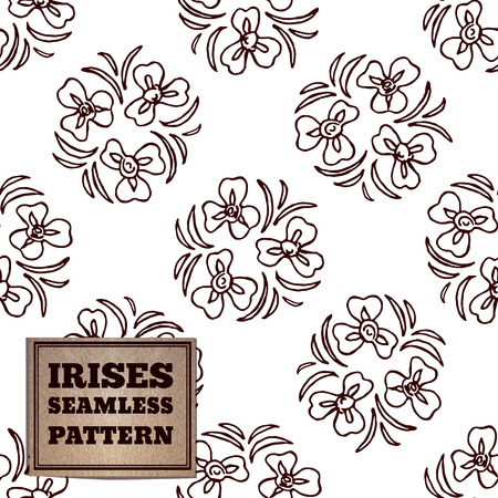 luce: Seamless pattern with bouquet of irises and cardboard label Illustration