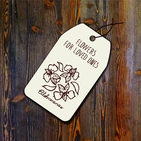 white wood: Tag template with bouquet of  alstroemerias on wood background. Suitable for floral shops. wedding designs, web and print