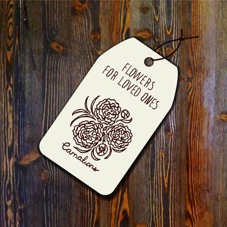 carnations: Tag template with bouquet of carnations on wood background. Suitable for floral shops. wedding designs, web and print