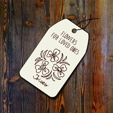 Tag template with bouquet of irises on wood background. Suitable for floral shops. wedding designs, web and print