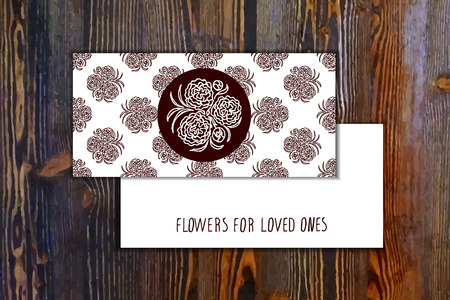 carnations: Card template with seamless pattern and floral element with carnations on wooden background. Suitable for floral shops. wedding designs, web and print Illustration