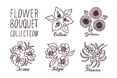 Handsketched bouquets collection.  Floral labels.  Suitable for ads, signboards, identity and wedding designs