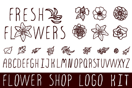 bundle of letters: Logo kit with handsketched floral elements for flower shops. Fresh flowers