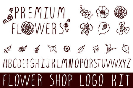 Logo kit with handsketched floral elements for flower shops. Premium flowers
