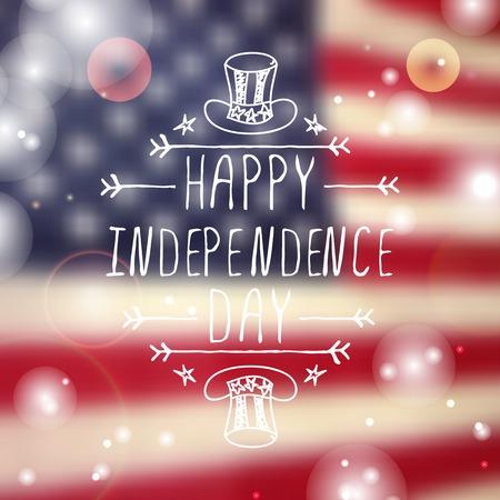 independence day: Happy Independence day card with hat and handlettering element on blurred  background. Happy Independence Day Illustration
