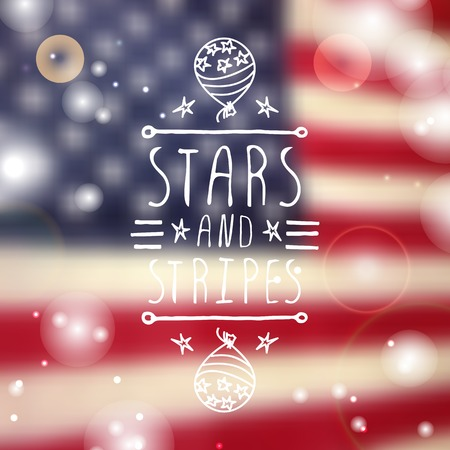 handlettering: Happy Independence day card with balloon and handlettering element on blurred  background. Stars and Stripes