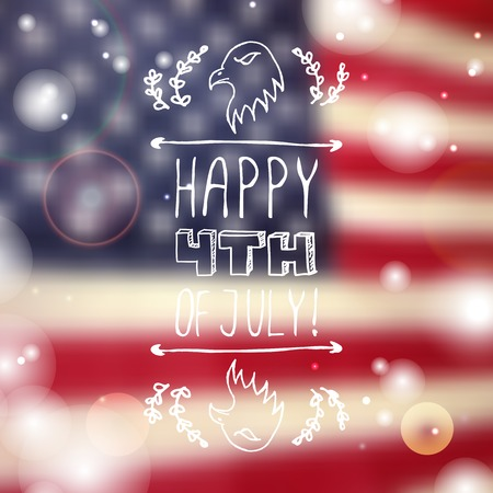 sparkled: Happy Independence day card with eagle and handlettering element on blurred  background. Happy 4th of July