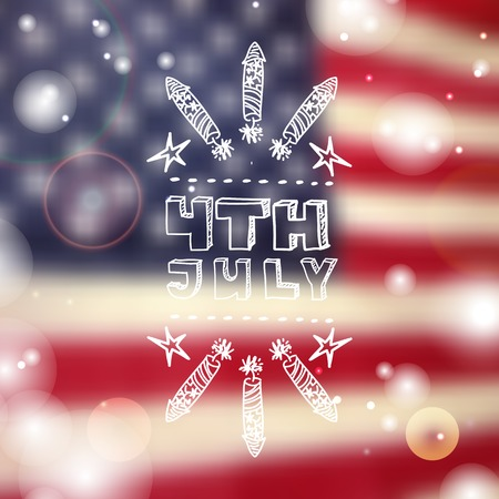 sparkled: Happy Independence day card with firecrackers and handlettering element on blurred  background. Happy 4th of July