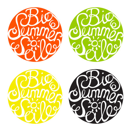 Lettering element in four colors. Big summer sale Vector