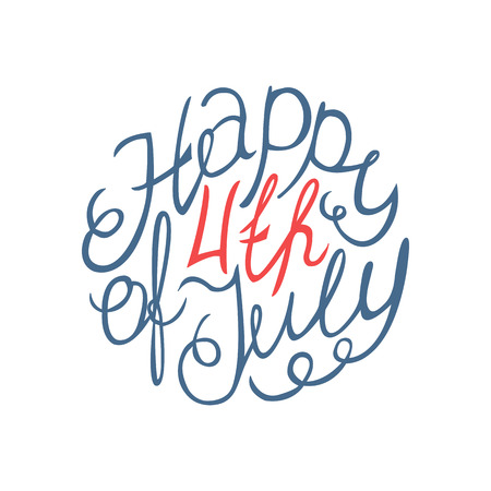 fourth july: Happy Independence day hand lettering element on white background.
