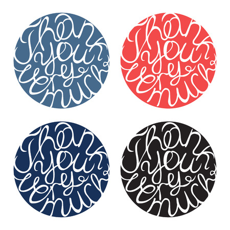thank you very much: Lettering element in four colors. Thank you very much Illustration