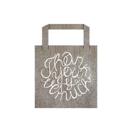 thank you very much: Vector eco bag mockup template with lettering element isolated on white. Thank you very much