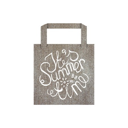 ecologically: Vector eco bag mockup template with lettering element isolated on white. Its summer time Illustration