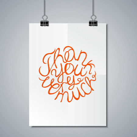 thank you very much: Poster Mockup Template with Lettering Element. Thank you very much