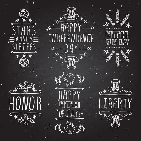 independencia: d�a de la independencia elementos tipogr�ficos a mano esbozado en el fondo de la pizarra. Estrellas y rayas. Feliz d�a de la independencia. Feliz el 4 de julio. Honor y la libertad. Vectores