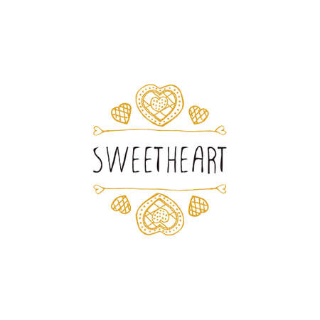 sweetheart: Saint Valentines day greeting card.  Sweetheart. Typographic banner with text and doodle heart shaped cookies.  Vector handdrawn badge.