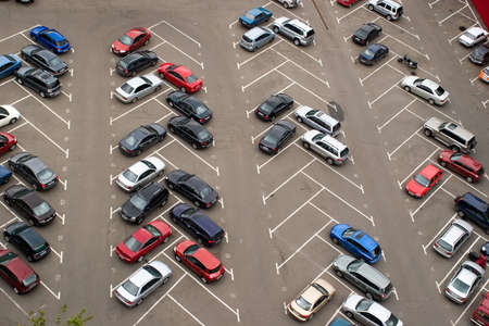 cars parking: Cars parked in parking lot  ����������, �������������� �� ������� Stock Photo