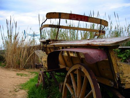 old wooden wagon photo