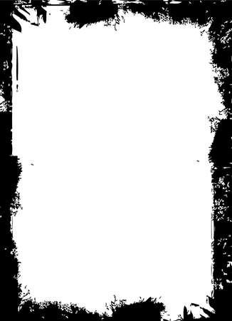 over black: Black grunge border over white