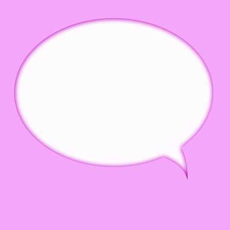 Computer designed speech bubble on pink background Stock Photo - 612420